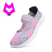 Wolf Who 2017 Fashion Womens Weave Shoes Spring Autumn Mixed Color Checkered Breathable Casual Shoes Loafers
