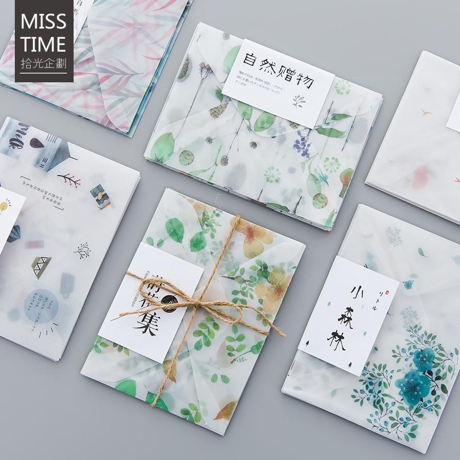 4 Teile/paket Frische Natur Serie Pergament Papier Umschlag Für Geschenk Koreanische Schreibwaren Zahlreich In Vielfalt