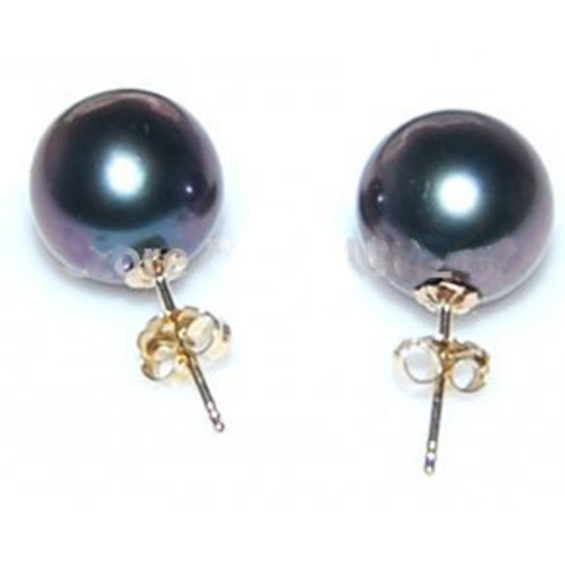 AAA 9-10mm Black Round Genuine Sea Water Tahitian Pearl Earring with 14K Solid Gold StudAAA 9-10mm Black Round Genuine Sea Water Tahitian Pearl Earring with 14K Solid Gold Stud