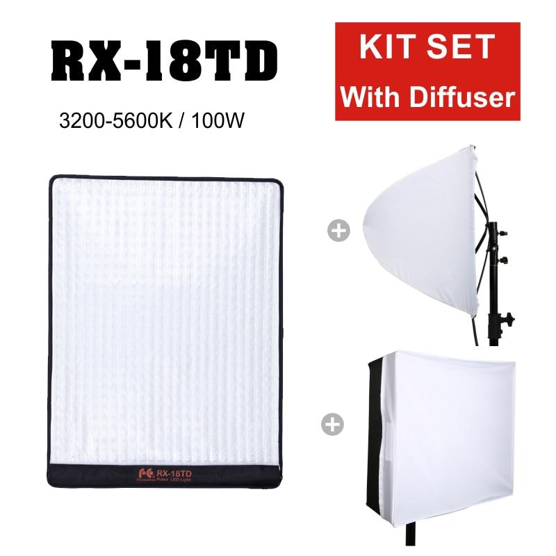 Falconeye RX-18TD 100 w 504 pcs Flexible Rouleau LED Vidéo Lumière Enroulable Tissu Lampe avec LCD Écran Tactile Contrôleur avec diffuseur