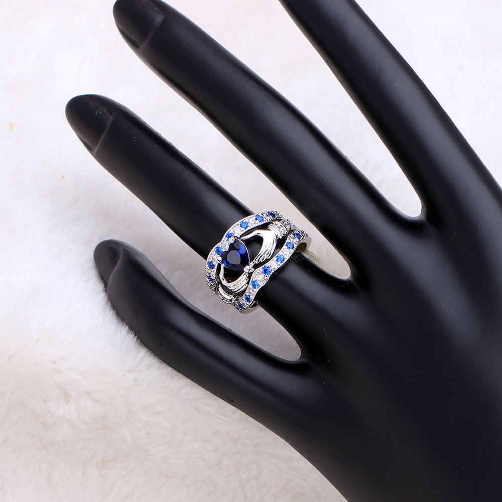 Blue created Purple white Princess Wedding band women crown heart