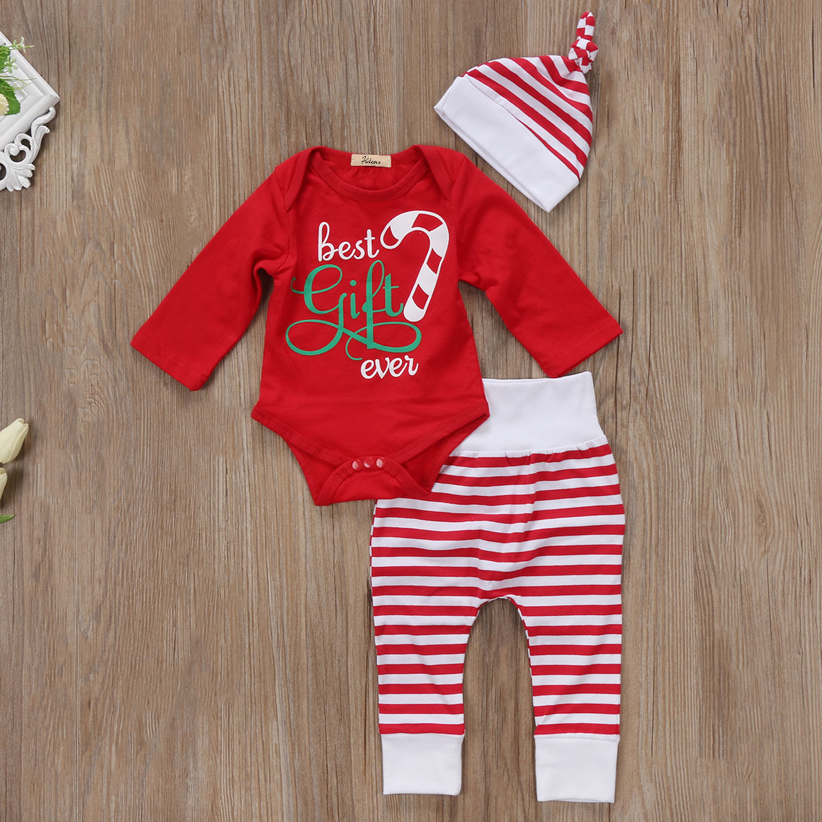 Newborn Baby Girls Boys Christmas Clothes Set Long Sleeve Romper Tops Striped Pants Hat Cute Winter Fall Clothes Xmas Outfit 3pc