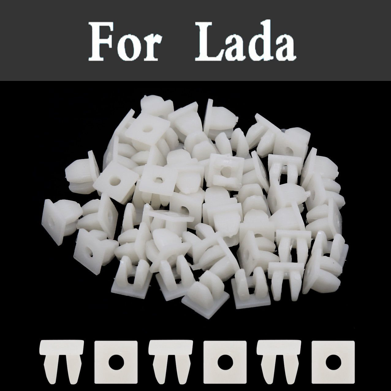 100pcs White Square Car Bumper Rivet Retainer Fender Cover Screw For Renault Sandero Sym ...