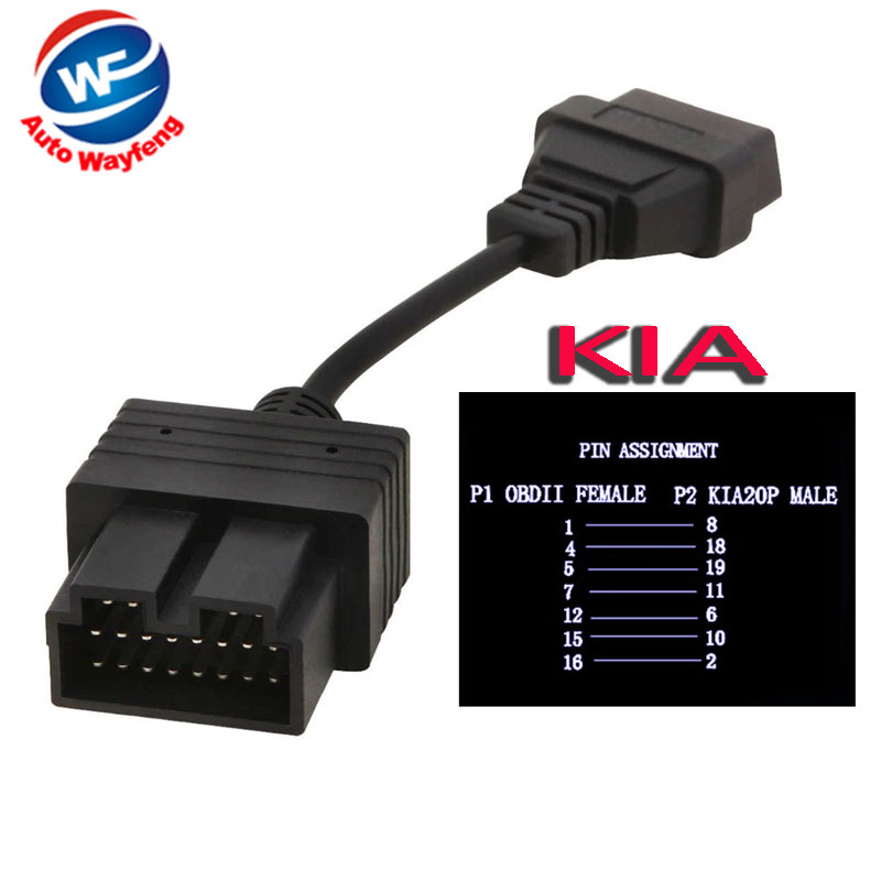 20 Pin To 16 Pin OBD2 Obdii OBD 2 II For KIA  Female Code Reader Adapter Car Connector Cable For KIA