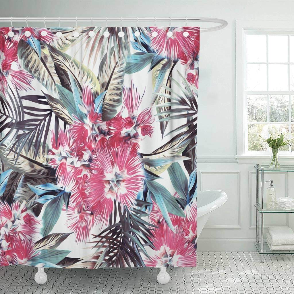 Fabric Shower Curtain With Hooks Brown Abstract Exotic