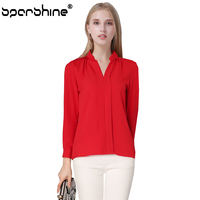 SPARSHINE Blouses 2017 Hot Long Sleeve Chiffon Blouse V Neck Casual Solid Color White Red Black
