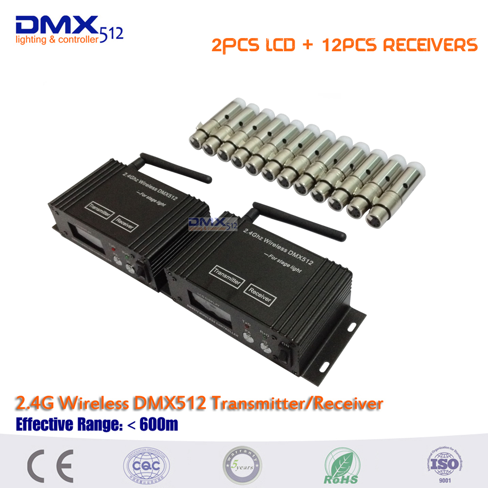 DHL Free shipping 2.4G Wireless Dmx512 Controller Transmitter/Receiver Lcd Display Dmx Controller Repeater Disco Light dmx512 digital display 24ch dmx address controller dc5v 24v each ch max 3a 8 groups rgb controller