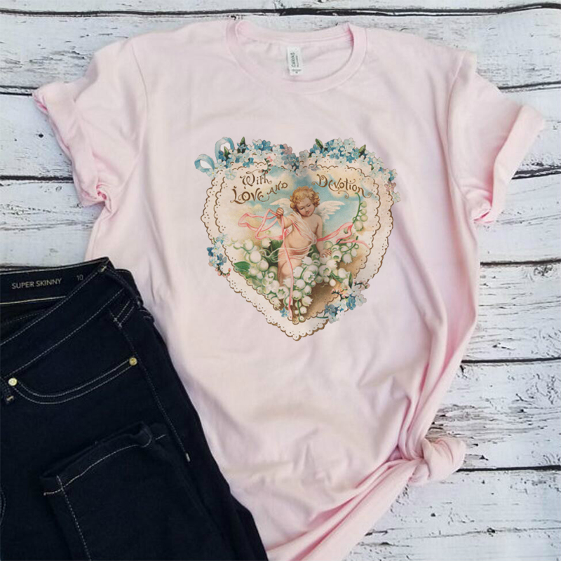 3d6109535 2019 Nova Kawaii Anjo Impresso Mulheres Vintage Tops Verão Plus Size  Camisetas Gráficas Tumblr Estilo Grunge Harajuku T camisa de Algodão  mulheres