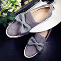 Women's Platform Flats Slip-on Loafers Brand Designer Sweet Bowtie Leisure Espadrilles Real Suede Leather Moccasins Shoes Women