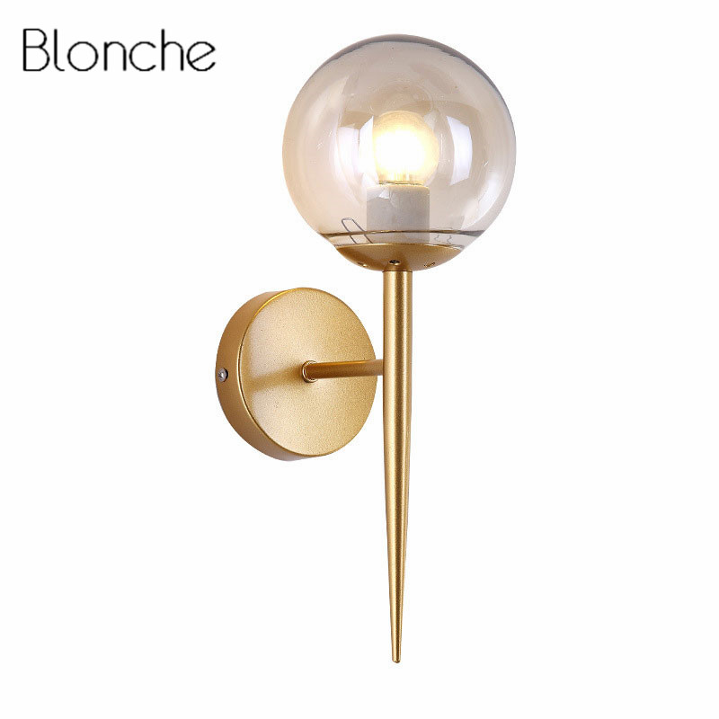 Modern Glass Ball Wall Lamp Sconce Led Bedroom Wall Light Fixture for Home Decor Nordic Foyer Living Room Corridor Luminaire E27 недорого