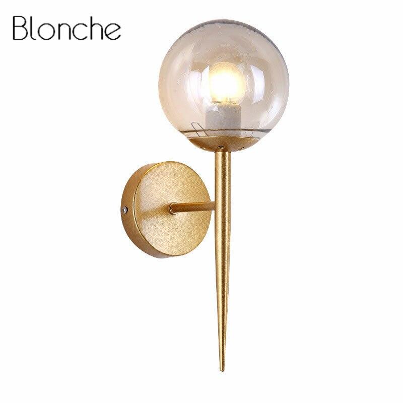 Romantisch Moderne Glas Ball Wand Lampe Leuchte Led Schlafzimmer Wand Leuchte Für Wohnkultur Nordic Foyer Wohnzimmer Korridor Leuchte E27 Kann Wiederholt Umgeformt Werden. Led-innenwandleuchten Licht & Beleuchtung
