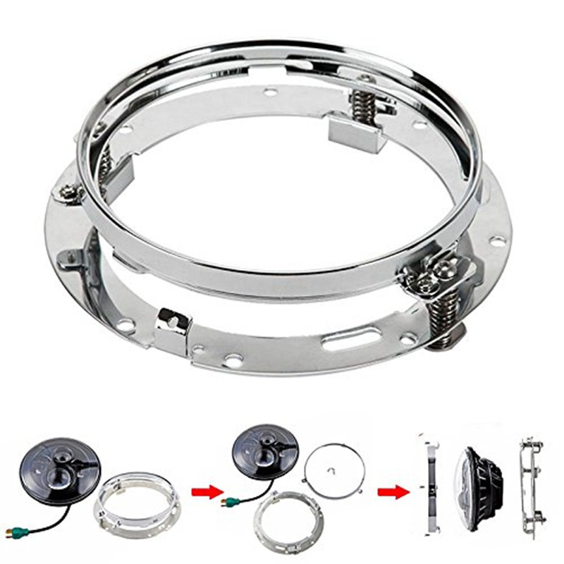 Round 7 INCH LED Headlight Mounting Bracket/Adapter Ring For 07-16 Jeep Wrangler JK Harley Motorcycle