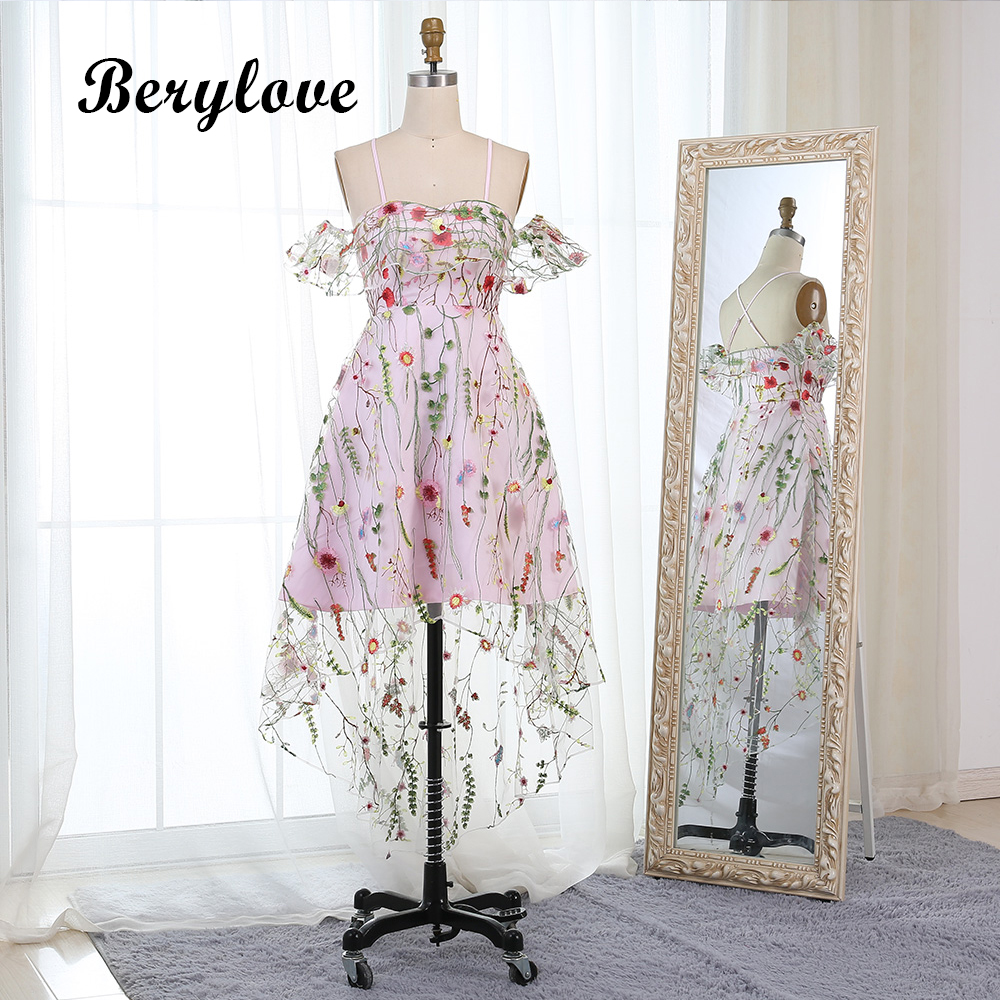 BeryLove High Low Off the Shoulder Prom Dresses 2018 Women Embroidery  Graduation Dress Party Gowns Special dd3147621fac
