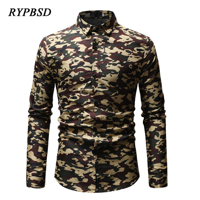 d1279f79e6a 2019 Spring Autumn Fashion Printing Casual Long Sleeve Blue Army Green  Camouflage Shirt Men Military Slim Fit Camisa Masculina