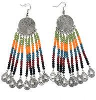 Handmade Ethnic Gypsy Party Jewelry Crystal Chandelier Earrings Crystal Beads Tassel Dangle Science Earrings