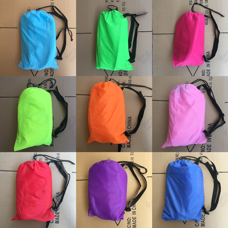 240*70cm Inflatable Lazy Bag Air Sofa Nylon Laybag Air Sleeping Bag Camping Portable Beach Bed Lazy Bag Air Lounger