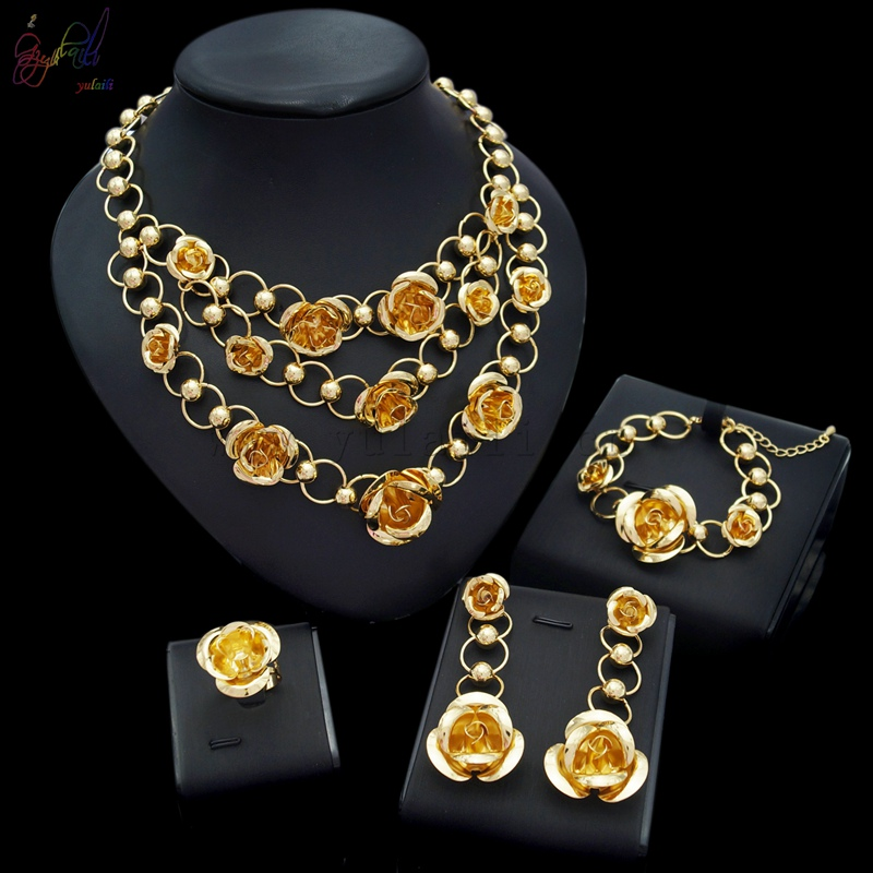 Yulaili Free Delivery 2017 Rose Design Alloy Pure Gold Color Ladies Costume Dubai Jewelry Sets yulaili free delivery hot sell factory ethiopia design copper alloy four pieces ladies big jewelry sets
