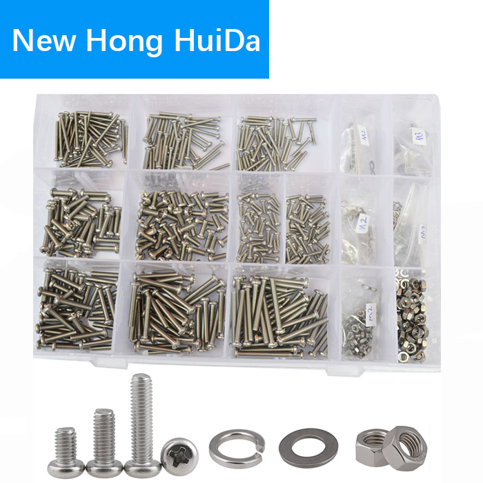 M2 M3 Pan Head Machine Screw Phillips Cross Round Metric Bolts Nuts Flat Lock Washer Assortment Kit 304Stainless Steel,800Pcs