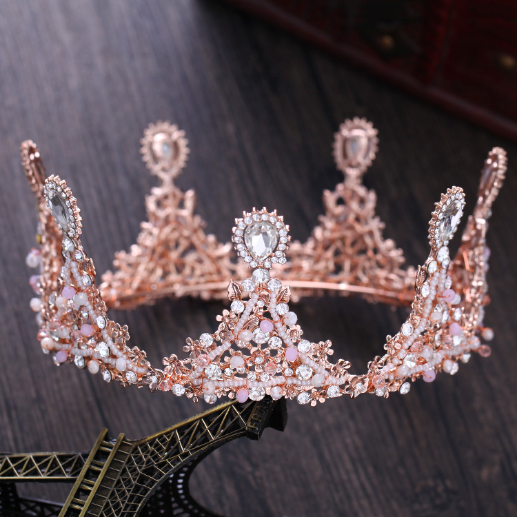 Dower me Rose Gold Women Prom Crown Flower Bridal Tiara Stuning Wedding Accessories Hair Piece 2017 new spring flower crown hairband bridal wedding hair accessories rose floral wreath for kids head tiara garland