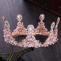 Dower me Rose Gold Women Prom Crown Flower Bridal Tiara Stuning Wedding Accessories Hair Piece