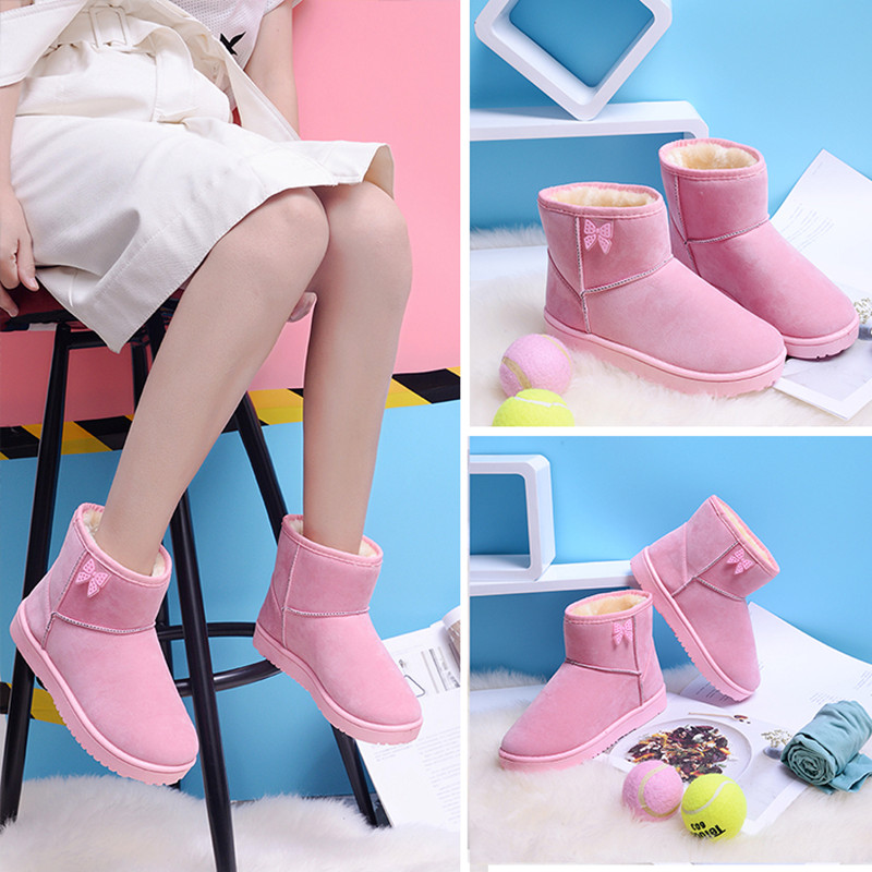 Fashion 2018 winter new women's boots flat suede bow casual snow boots large size 36-40