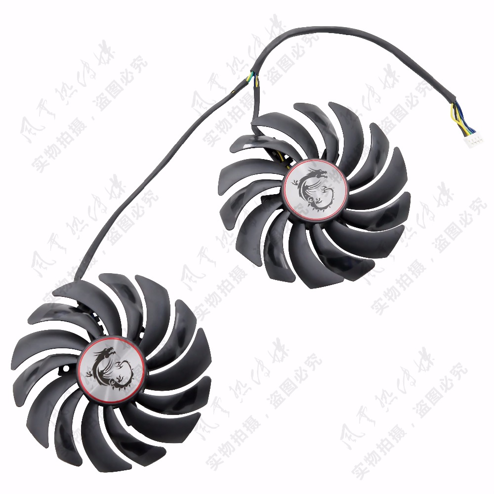 New Original for MSI GTX1080Ti/1080/1070/1060 RX470/480/570/580GAMING Graphics card cooling fan 2pcs lot gtx1080 gtx1070 gtx1060 gpu cooler fans video card fan for msi gtx 1080 1070 1060 gaming gpu graphics card cooling