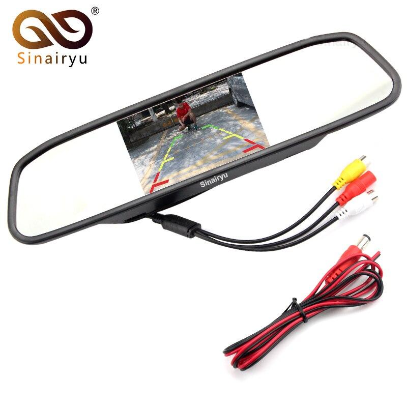 Sinairyu M430 Wholesale 10PCS 4.3Digital TFT LCD Mirror Car Parking Rear View Monitor 2 Video Input Connect Rear / Front Camera