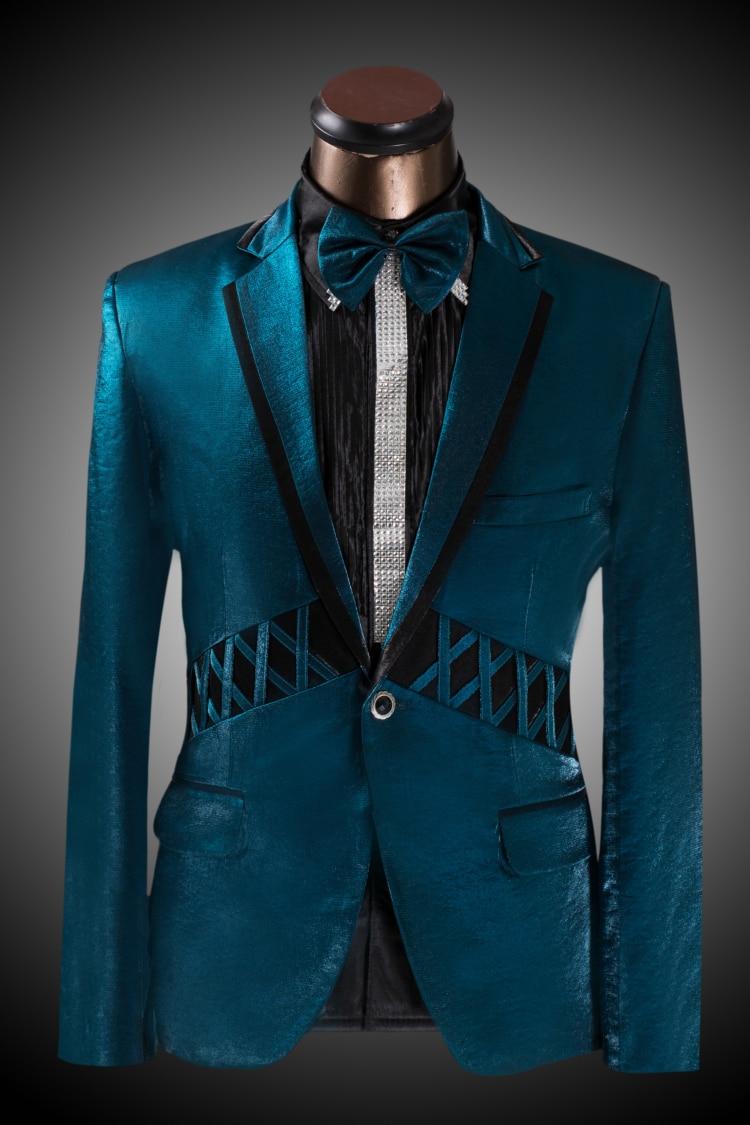 Men 39 s slim suit fashion peacock green men bridegroom for Men s dressing style for wedding