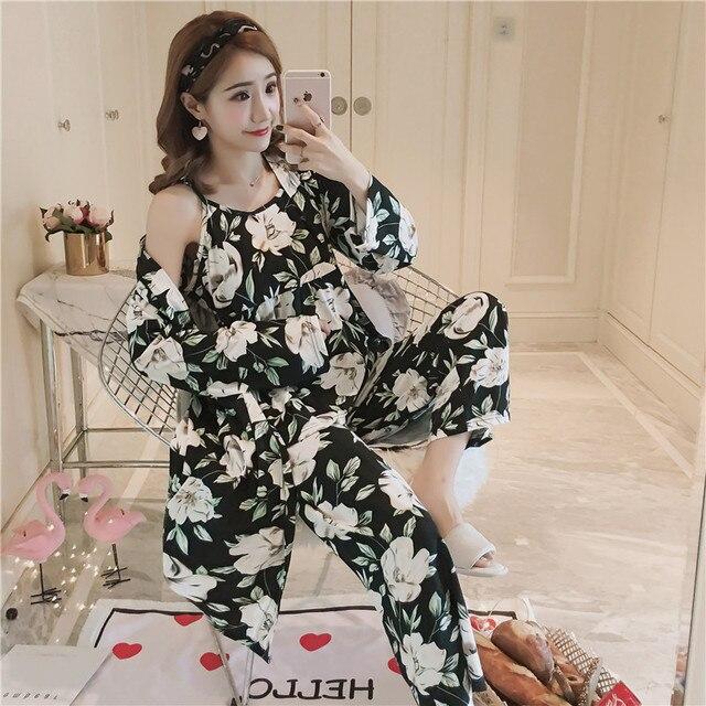 Cotton Robes Sets for Women 2018 New Autumn Winter Fashion Long Sleeve Pajama Femme Flower Print Bathrobe Homewear Home Clothing 1