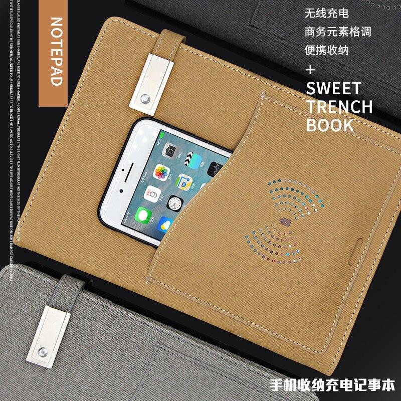 Multi-função Notebook Cronograma A5 Livro Diário Espiral Note Book Agenda Planejador Semanal de Negócios & Banco Do Poder de Carregamento Sem Fio