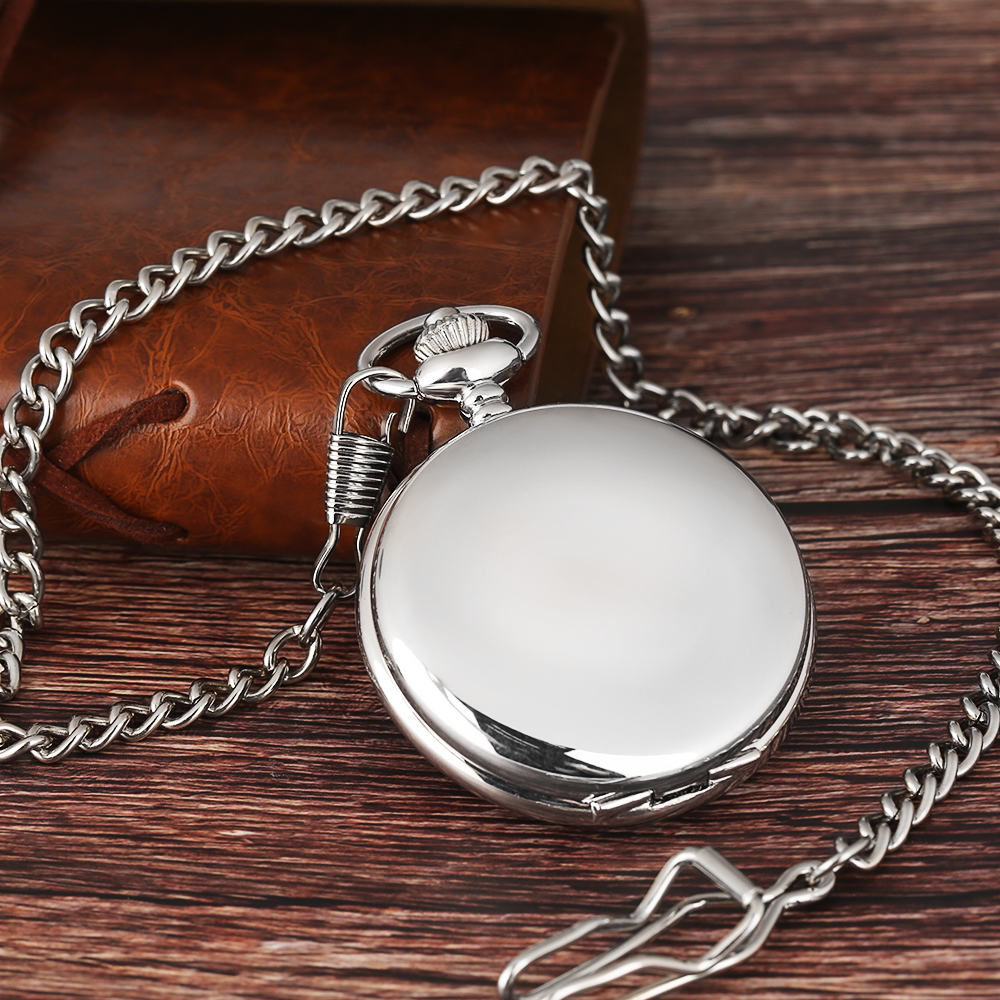 Novel Smooth Silver Pocket Watch Men Mirror  Pendant 30 Cm Fob Chain Quartz Watches Causal Cool Full Hunter Necklace PocketWatch