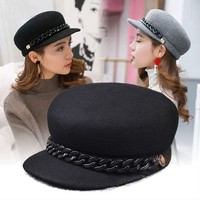 Wholesale 100 Pure Wool Felt Equestrian Hat Girl Banquet Fashion Headwear Women Party Formal Newsboy Caps
