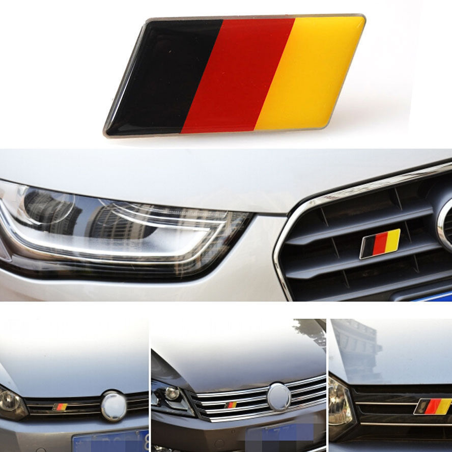 Aluminum Germany Flag Front Emblem Badge Grill Grille for Golf Jetta A3 A4 A5 A6 Car Styling Auto Accessories Car Stickers Cover