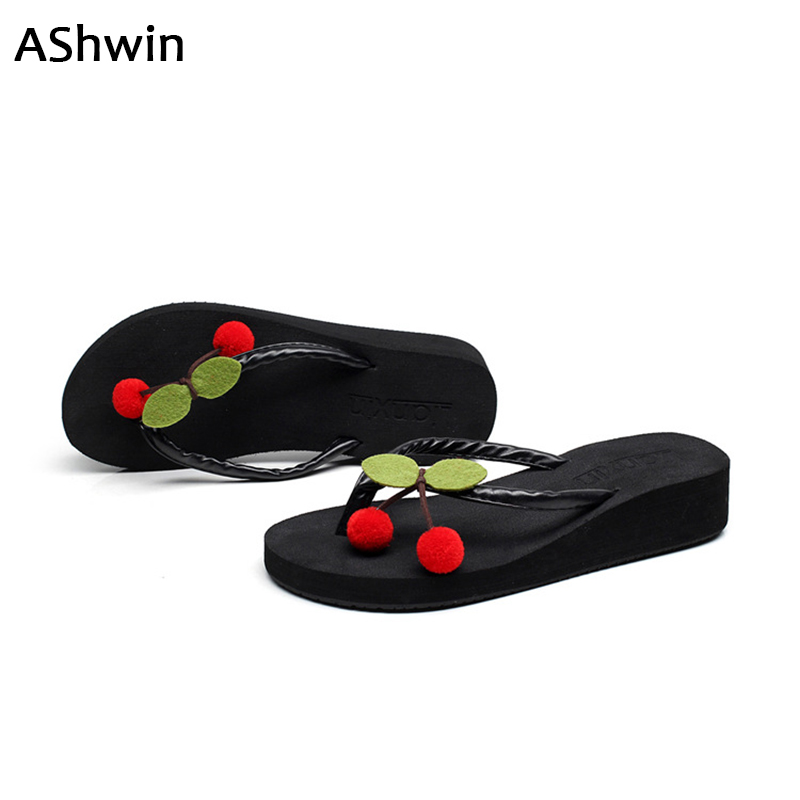 2017 summer women sandals fashion thong slippers handmade cherry wedges flip flops platform lovely Beach shoes non-slip 35-42 mnixuan women slippers sandals summer