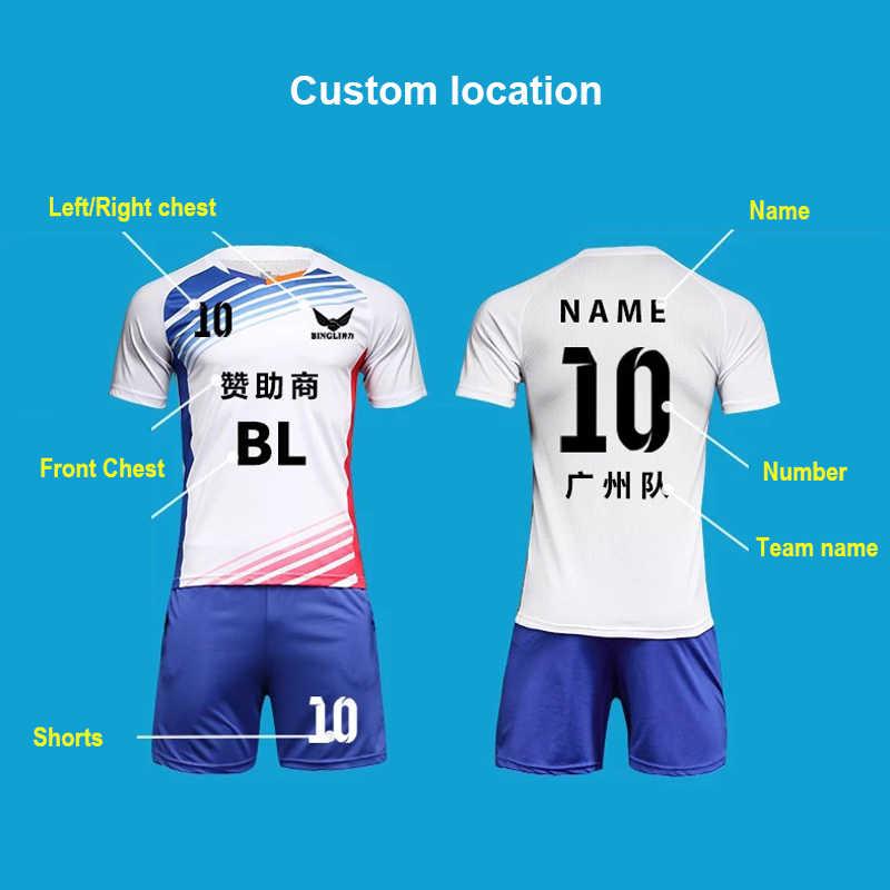 Customize blank soccer jersey set football team sports uniforms DIY print  logos name numbers mens boys kids futbol training suit