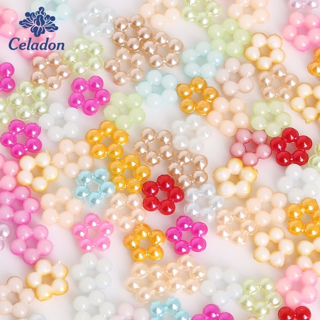Wholesale 7 \ 9 mm 100 Pcs Mix Colors Renju Shape Flat back Plastic ABS Imitation Pearl Beads for Jewelry Diy Craft Scrapbook