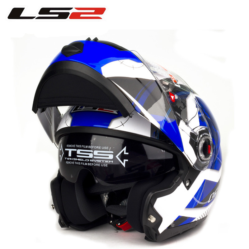 100 Genuine Brand Ls2 FF370 Motorcycle font b Helmets b font Double Lens Flip Up font