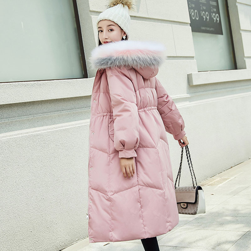 Manteau Mode long Manteaux D'hiver Col Épaississement Et Le Femme Z6172 Black Hiver Nouvelle white Vestes Moyen Femmes Fourrure Bas De Grand pink Vers Des 4r8x74p