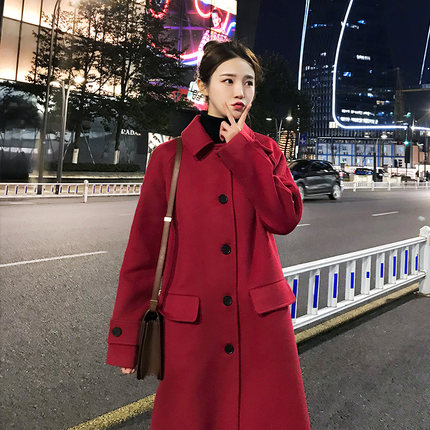 Зимнее шерстяное Женское пальто с длинным рукавом, теплое плотное шерстяное пальто, женская красная куртка, повседневное осенне зимнее эле... - 5