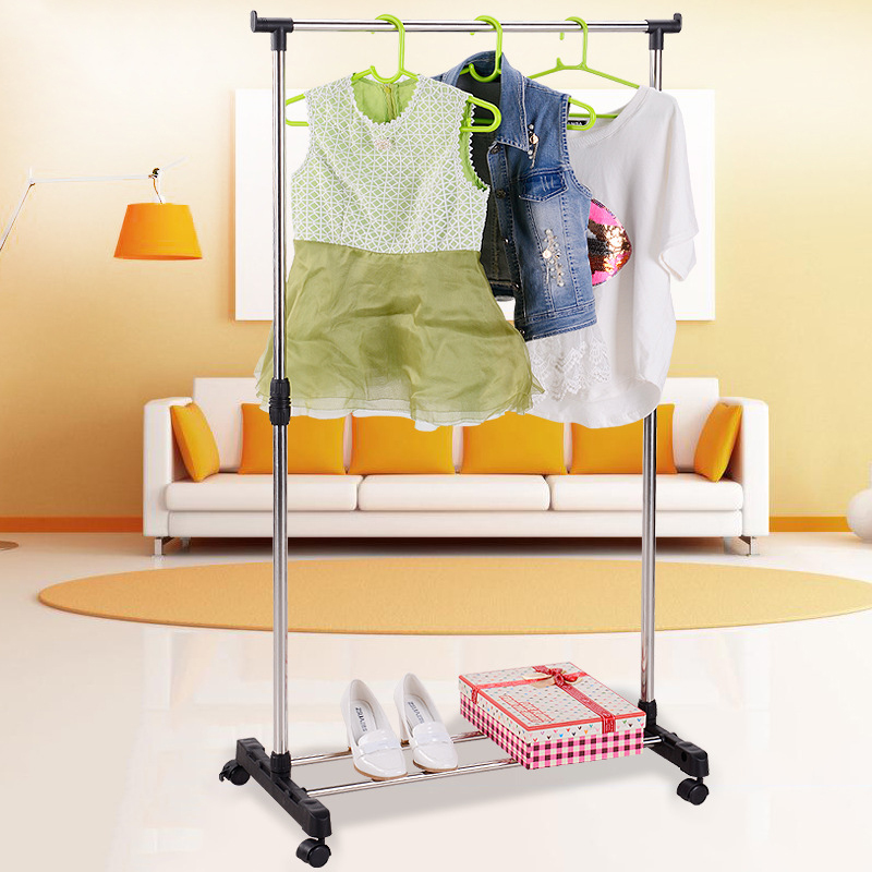 Actionclub Stainless Steel Single Rod Drying Rack Floor Stand Clothes Storage Rack Folding Lifting Drying Rack Shelf With Wheel