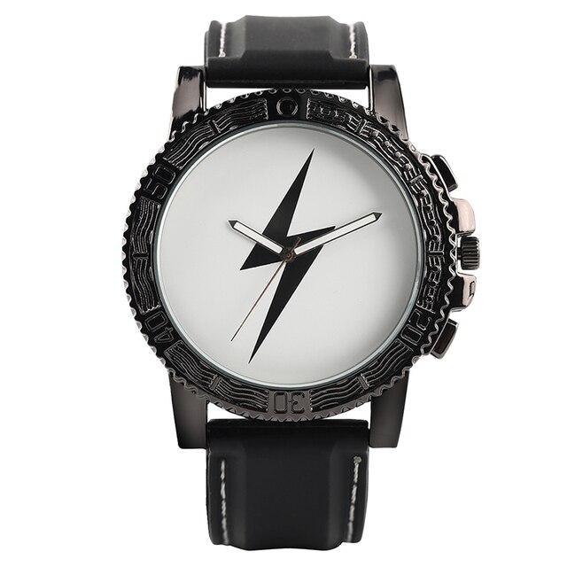 cool lightning symbol men waterproof silicone watch bolt thunder
