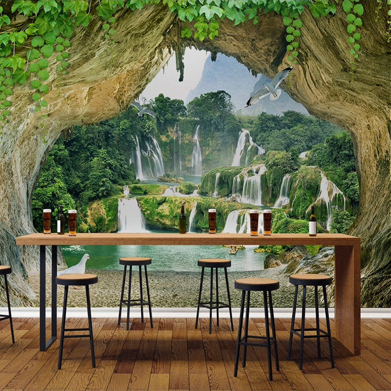 Custom Cave Waterfall 3D Stereoscopic Scenery Photo Wall Paper For Living Room Kitchen Restaurant Bar Wall Decor Mural Wallpaper