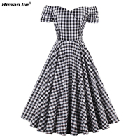 HimanJie Women S Vintage Dress 2017 Summer Elegant A Line Model Plaid Short Sleeve Knee Length