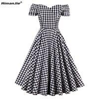 HimanJie Women S Vintage Dress 2017 Summer Elegant A Line Model Plaid Short Sleeve Knee Length