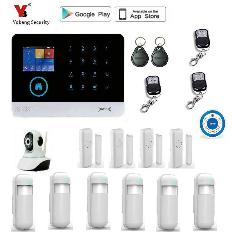 Yobang Sicherheit WIFI RFID GSM Home Security Alarm System Mit EN RU ES PL DE Umschaltbar Touch Panel APP Remote control alarm