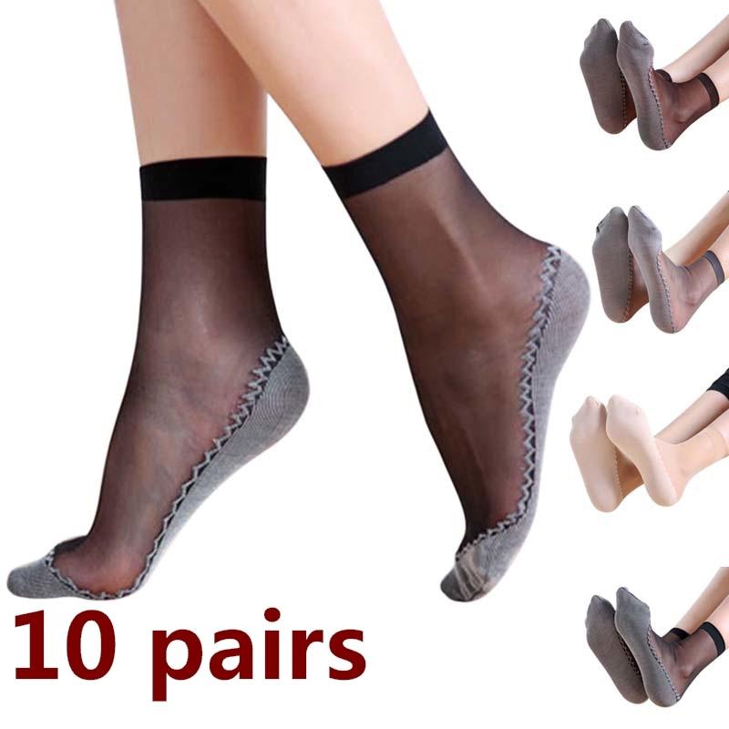 Socks Women 1 Pair Spring Summer Women Soft Socks Casual Non-Slip Bottom Splice Fashion Transparent Ladies Girls Thin Silk Sock