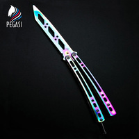 PEGASI No Edge Mirrored Finish Stainless Steel Knife Butterfly Training Folding Baling Game Dull CS GO
