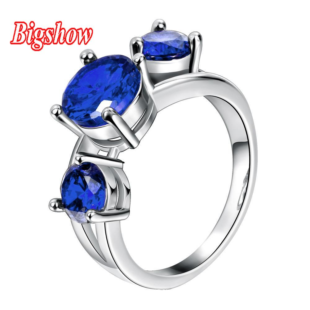18k real platinum yellow gold rose gold plated jewelry sapphire zircon stone engagement rings for women R119-C-8