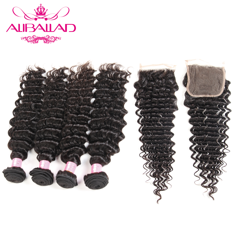 Aliballad Malaysian Deep Wave 4 Bundles With Lace Closure 4x4 Inches Non Remy Human Hair Weave Wet And Wavy Bundles With Closure