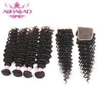 Brazilian Deep Wave 4 Bundles With Lace Closure 4*4 Hair Extension Remy Human Hair Weave Bundle Deals With Closure Aliballad